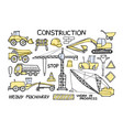 construction and heavy machinery doodle set vector image