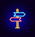 direction sign neon sign vector image vector image