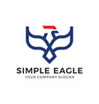eagle falcon bird logo design with mono line style vector image