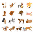 equestrian sport flat icons set vector image