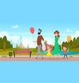 family park walking parents outdoor activities vector image vector image