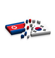 flag of north korea and south korea 3d vector image vector image
