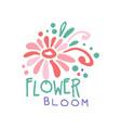flower bloom logo template element for floral vector image vector image