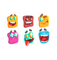 funny colorful monsters set slime cartoon vector image vector image