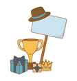 gift boxes with trophy crown hat and signboard vector image vector image
