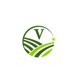 green project solution center initial v vector image vector image