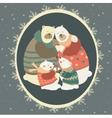 greeting card polar bear family celebrating vector image vector image