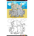 happy elephants characters group color book vector image vector image