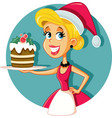 happy female home cook holding christmas cake vector image vector image