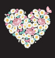 heart shape roses chamomile and forget-me-not vector image