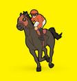 horse racing jockey riding horse vector image