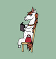 lovely hand-drawn unicorn-girl reading the book vector image