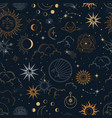 magic seamless pattern with constellations vector image vector image