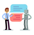 man chatting and asking for help bot chatbot vector image vector image