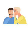 man gossiping says rumors to other man character vector image vector image