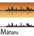 Manama skyline in orange background vector image