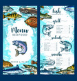 menu for seafood or fish restaurant vector image vector image