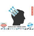 Neuro Interface Flat Icon With 2017 Bonus Trend vector image