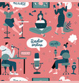 podcast themed doodle hand drawn seamless pattern vector image vector image