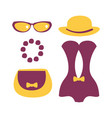 purple swimsuit with beach accessories colorful vector image vector image