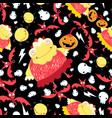 seamless super pattern with monsters and bats vector image