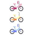 set flat childrens bicycles vector image vector image