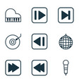 set of 9 music icons includes gramophone rewind vector image vector image