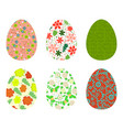 set of colorful eggs decorated with floral vector image