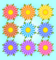 set of flat colored isolated flowers vector image