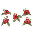 set of hand drawn red poppies isolated on white vector image