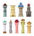 set old castle towers on a vector image vector image