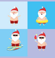 set santa claus in the summer holiday vacation vector image vector image