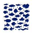 silhouette swimming marine fish in set vector image
