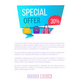 special offer 30 discount advert label with bags vector image vector image