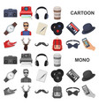 style hipster cartoon icons in set collection for vector image vector image