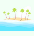 summer beach landscape with palm trees sea waves vector image