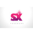 sx s x letter logo with pink purple color and vector image