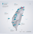 taiwan map with infographic elements pointer marks vector image vector image