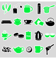 tea theme simple stickers icons set eps10 vector image vector image