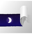 torn paper and night sky with moon vector image vector image