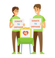 volunteers couple donate to orphans help vector image