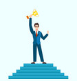 winner concept businessman on podium with prize vector image