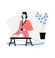 woman in bathrobe relaxing in spa salon drinking vector image vector image