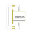 yellow line smartphone technology with digital vector image vector image