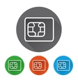 Security icons set with sim card vector image