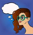 pretty girl in glasses cartoon vector image