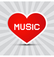 Love Music Theme with Red Paper Heart on Retro vector image