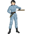 Asian Nunchuck girl in military uniform vector image