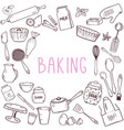 baking objects template with doodle style cooking vector image