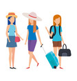beautiful tourists girls with suitcases characters vector image